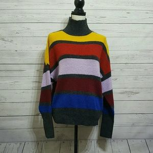 NWOT Express Striped Knit Turtleneck Sweater Small
